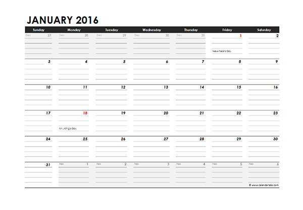 2016 Excel Monthly Calendar 04 - Free Printable Templates
