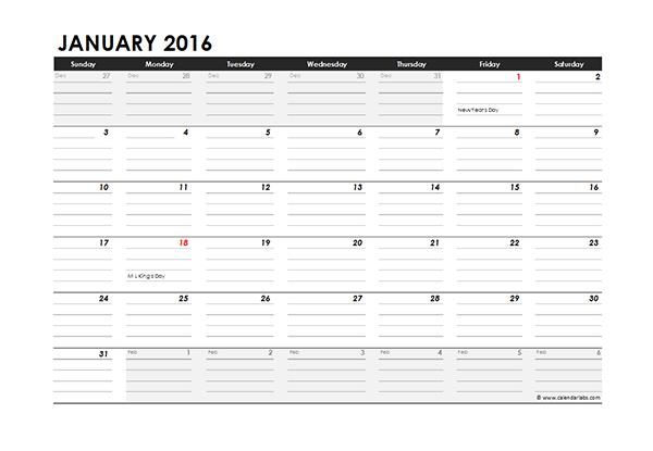 2016 Excel Monthly Calendar 04