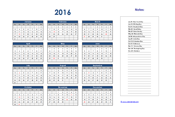 2016 Excel Yearly Calendar 06 - Free Printable Templates