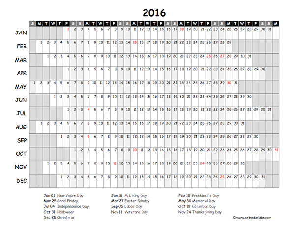 View Calendar 2016 Excel Yearly Calendar 03
