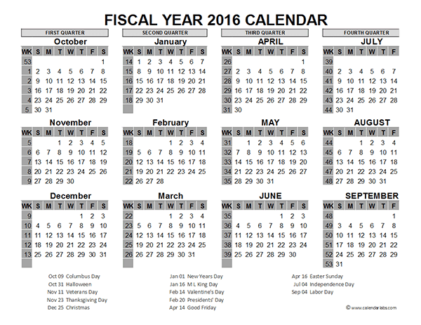 2016 fiscal year calendar usa 06 free printable templates