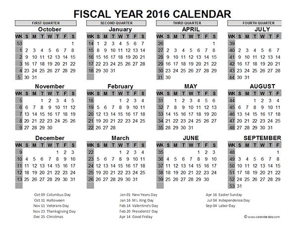 2016 Fiscal Year Calendar USA 06 - Free Printable Templates