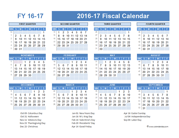 2016 Fiscal Year Calendar USA 07 - Free Printable Templates