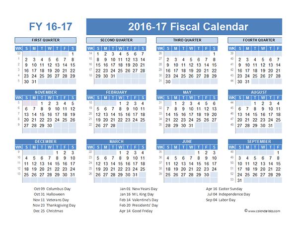 2016 Fiscal Year Calendar USA 07 - Free Printable Templates