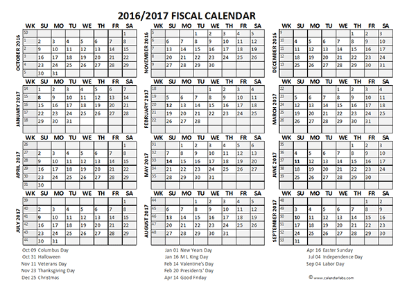 2016 Fiscal Year Calendar USA 08 - Free Printable Templates