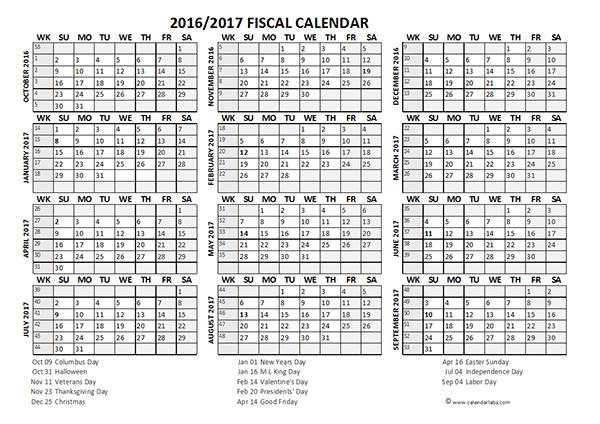 2016 Fiscal Year Calendar USA 08
