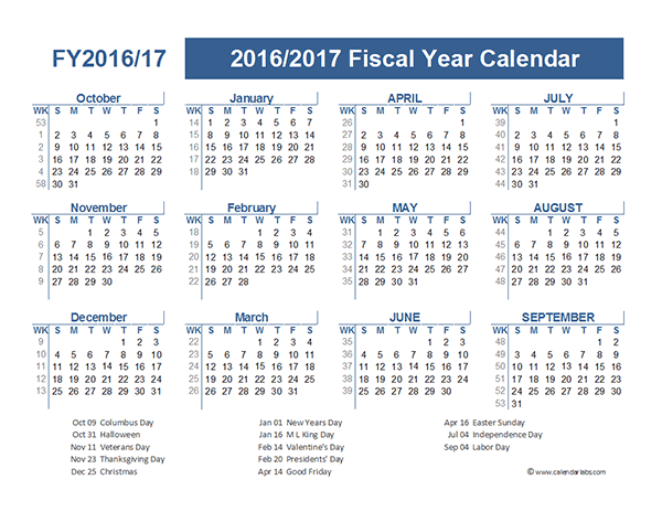 2016 Fiscal Year Calendar USA 09 - Free Printable Templates