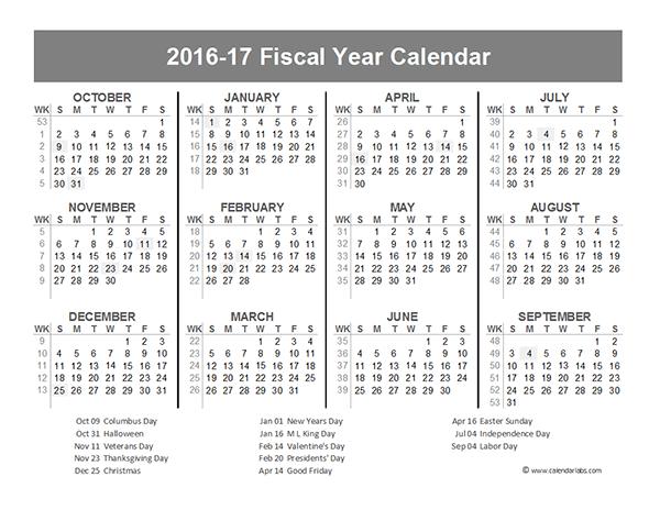 2016 Fiscal Year Calendar USA 10 - Free Printable Templates