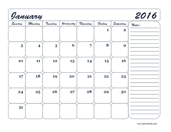 2016 Monthly Calendar 21 - Free Printable Templates