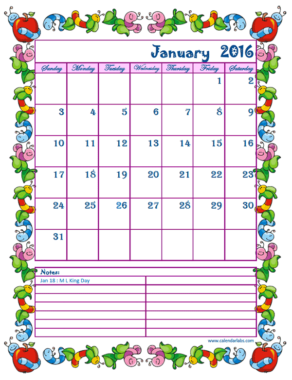 2016 Monthly Calendar Kids