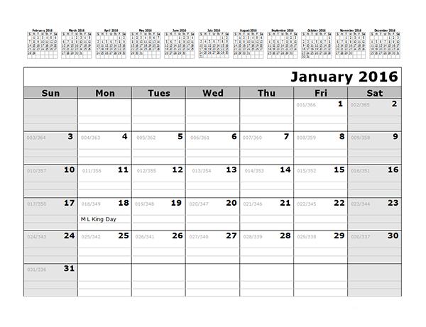 2016 Monthly Julian Calendar 12 Months Top