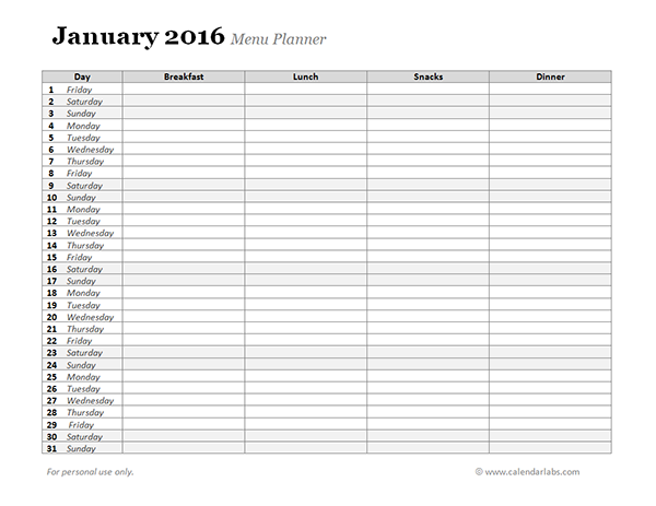 2016 Monthly Menu Planner 02 Free Printable Templates – Menu Planner Templates
