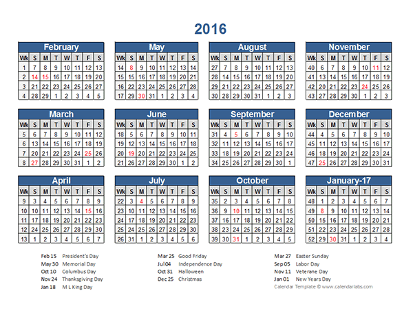 2016 Retail Accounting Calendar 4 4 5 Free Printable