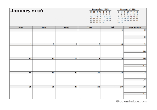 2016 Blank Three Month Calendar