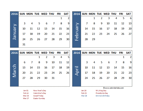 2016 Excel 4 Month Calendar Template - Free Printable Templates