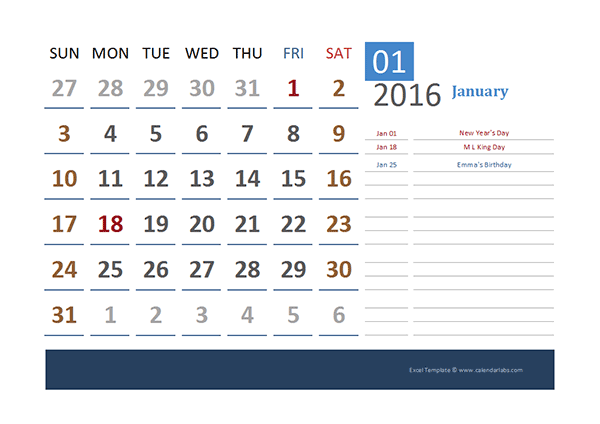 2016 Excel Calendar for Vacation Tracking