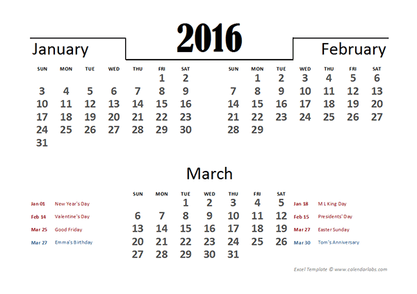 2016 Excel Quarterly Calendar Template