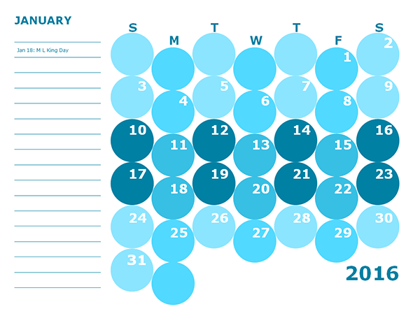 2016 Monthly Calendar Template 16