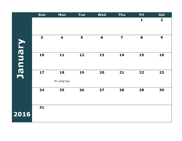 2016 Monthly Calendar Template 18