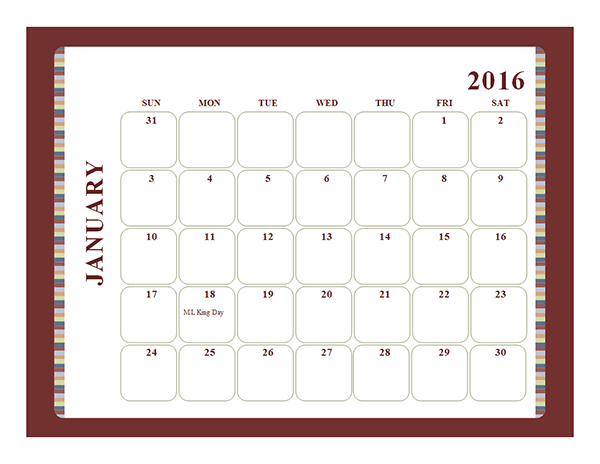 2016 Monthly Calendar Template 19L