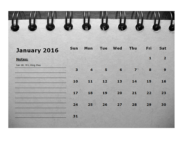 2016 Monthly Calendar Template 01