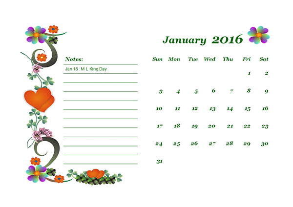 2016 Monthly Calendar - Free Printable Templates