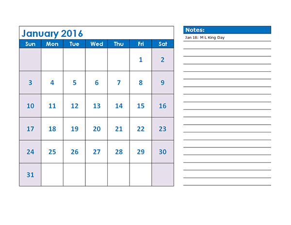 2016 Monthly Calendar Template 04