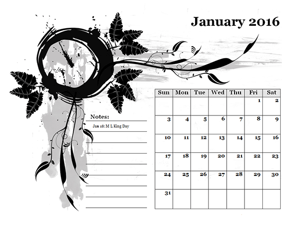 2016 Monthly Calendar Template 05