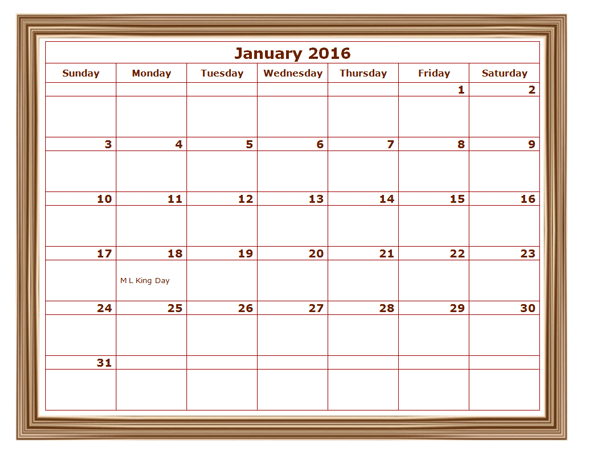 2016 Monthly Calendar Template 07 - Free Printable Templates