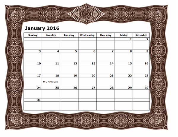 2016 Monthly Calendar Template 09