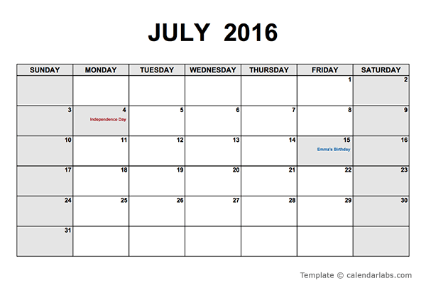 2016 Monthly Calendar PDF - Free Printable Templates