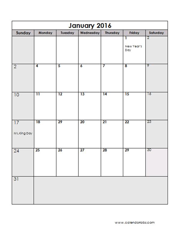 2016 monthly calendar template 13