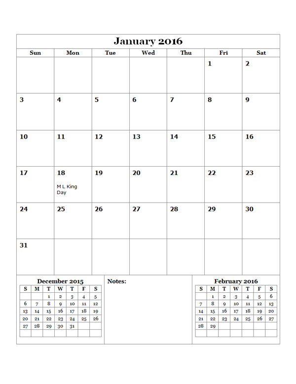 2016 monthly calendar template 14 free printable templates