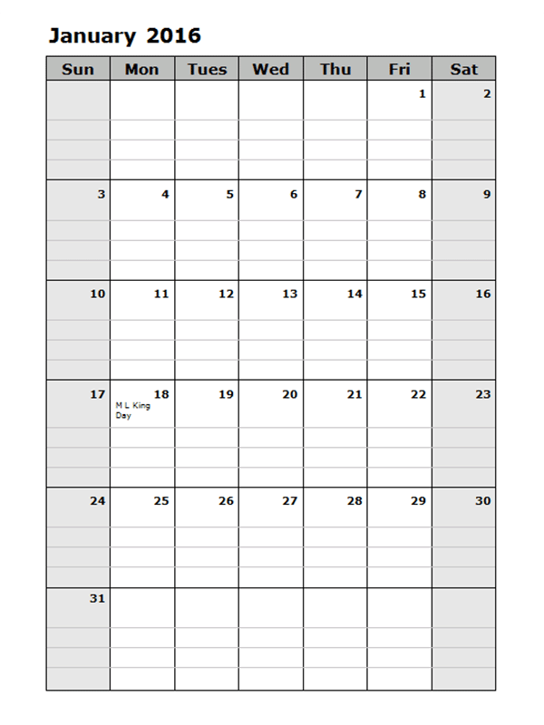2016 Monthly Calendar Template 13 Free Printable Templates