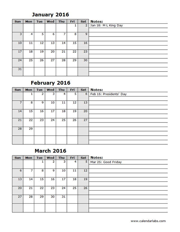 2016 Quarterly Calendar Template 14P - Free Printable Templates