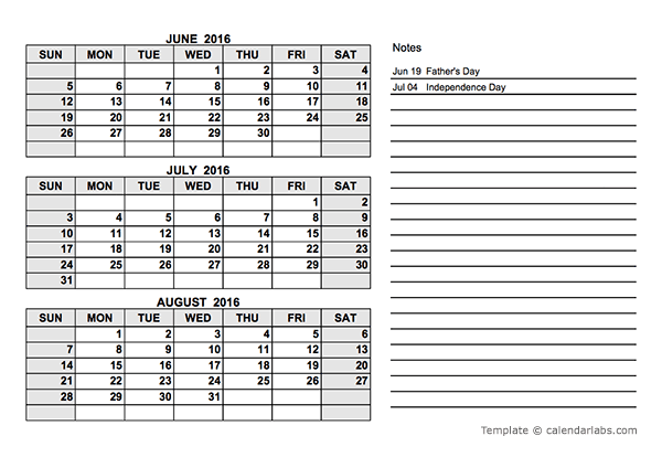 2016 Quarterly Calendar PDF - Free Printable Templates