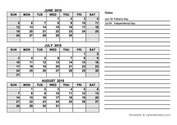 2016 Quarterly Calendar PDF - Free Printable Templates