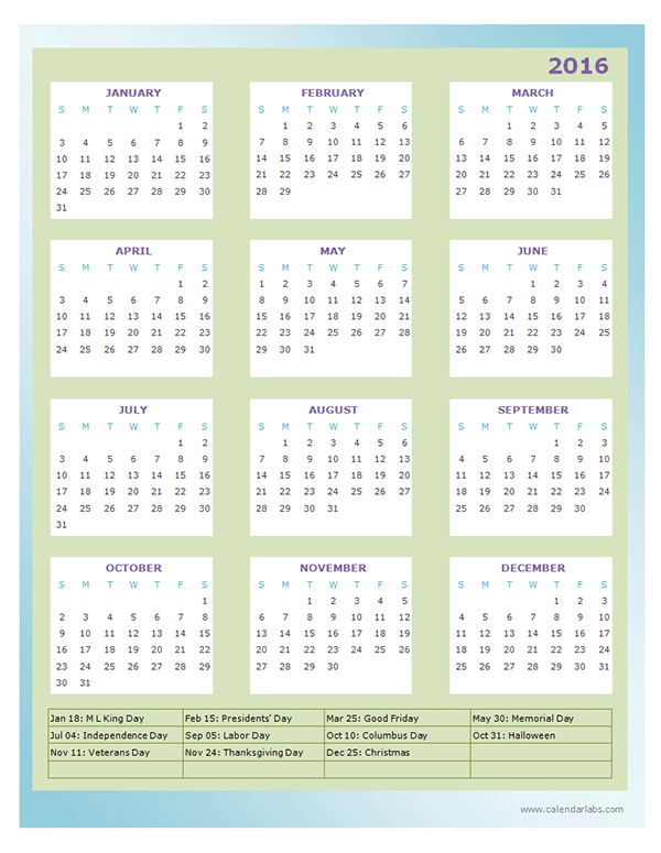 2016 Yearly Calendar Template 13P