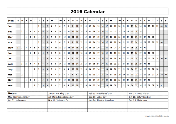 2016 Yearly Calendar Template 15L