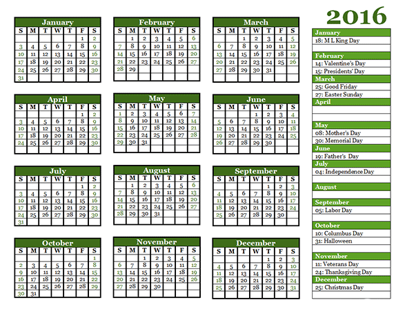 2016 Yearly Calendar Template 06