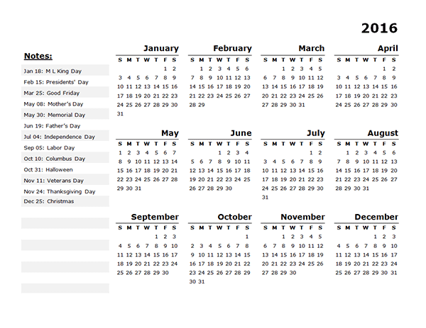2016 Yearly Calendar Template 11