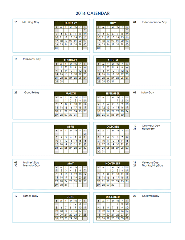 2016 Yearly Calendar Template 04