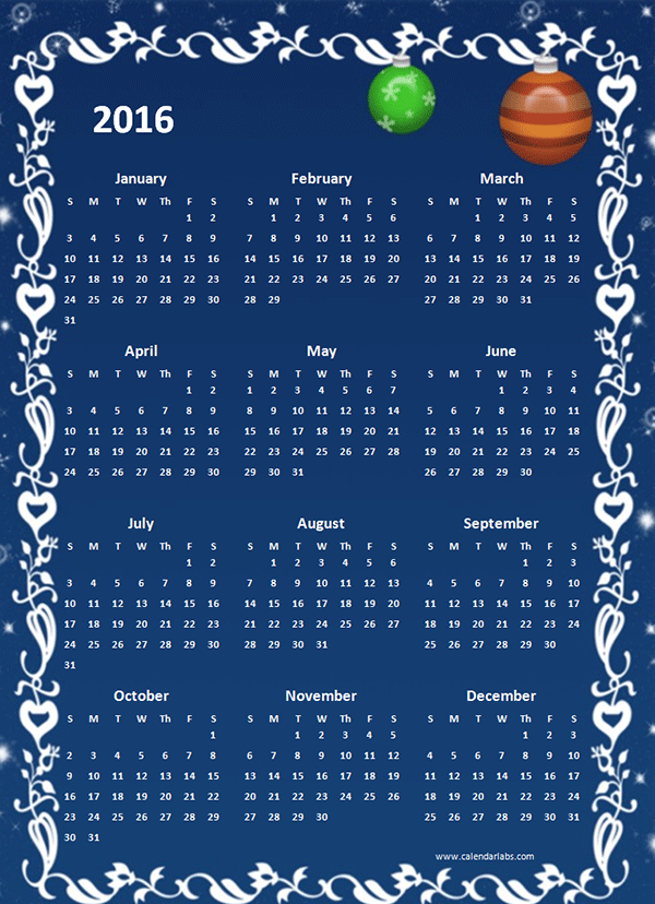 2016 Yearly Calendar Template 05 Free Printable Templates