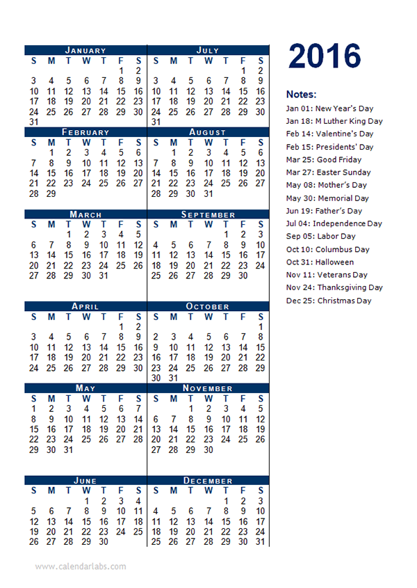 2016 Yearly Calendar Template 12P - Free Printable Templates