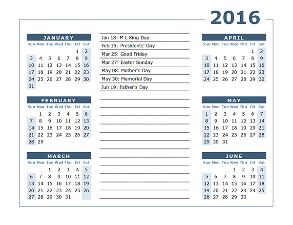 2016 Yearly Calendar Two Page 02