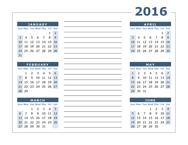 2016 Yearly Calendar Two Page