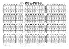 2016 fiscal calendar template