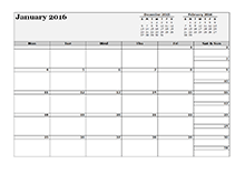 2016 Three Monthly Calendar Template