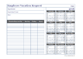 2016 Business Employee Vacation Request