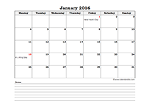 2016 excel monthly calendar with notes